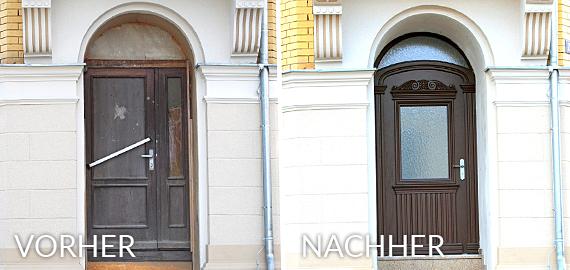 Restauration und Änderungsarbeiten - Zum Beispiel Eingangstür der ehemaligen Picolo in Markneukirchen