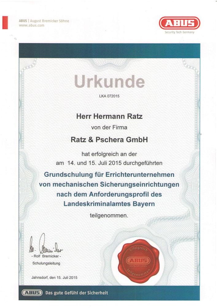 Grundschulung für Errichterunternehmen von mechanischen Sicherungseinrichtungen nach dem Anforderungsprofil des Landeskriminalamtes Bayern
